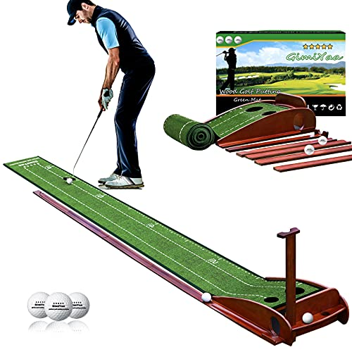 GimiYaa Golf Putting mat Green Indoor and Outdoor with Auto Ball Return,Game Practice Golf Gifts for Home, Office, Backyard Indoor Golf and Outdoor Use, Crystal Velvet Mat and Solid Wood Base