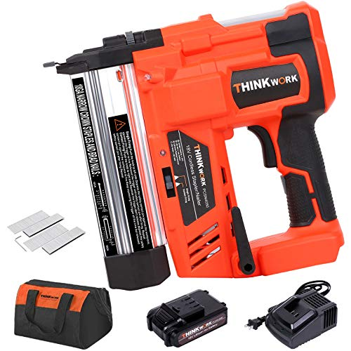 20V 18 Gauge Cordless Brad Nailer, Battery Powered Nail Gun, 2 in 1 Dual Mode Stapler Gun Comes with 2AH Lithium Battery and Fast Charger, Compatible with 18GA Nails for Woodworking, Home Renovation