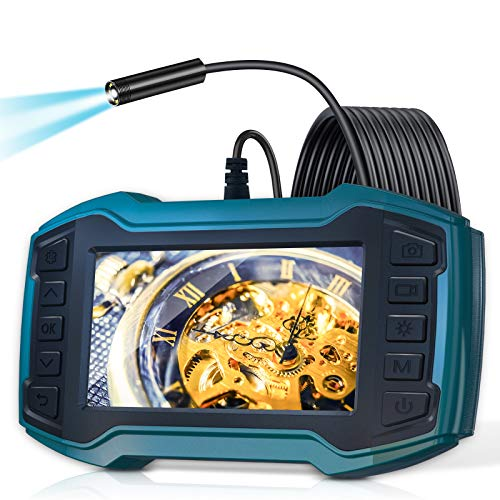 Borescope Inspection Camera, LONOVE Industrial Endoscope Camera 1080P 4.5' IPS Screen w/ IP67 Waterproof Snake Camera 6 LED Lights, Sewer Camera with Detachable Semi-Rigid Cable-16.5FT