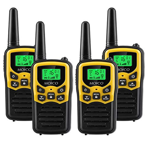Walkie Talkies,MOICO Walkie Talkies Long Range in Open Fields,Walkie Talkies for Adults 22 Channels FRS VOX Scan LCD Display with LED Flashlight for Biking Hiking Camping 4 Pack
