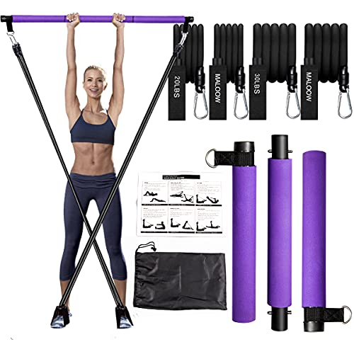 Portable Pilates Bar Kit with Resistance Bands (2 Strong&2 Standard),Compact 3-Section Exercise Sticks Bar and Bands for Stretched Fusion Fitness,Greatly Home Workout Kit for Toning Muscle,Legs,Butt