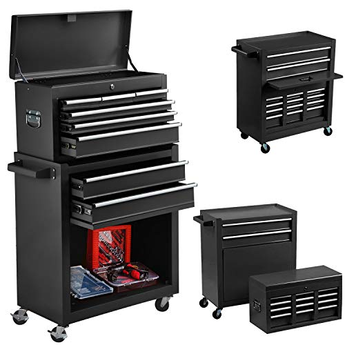 8-Drawer Tool Chest Big Removable Tool Chest Rolling Tool Box with Wheels and Drawers Tool Cabinet Tool Organizer Toolbox with Locking System for Garage, Workshop, and Warehouse (Black)