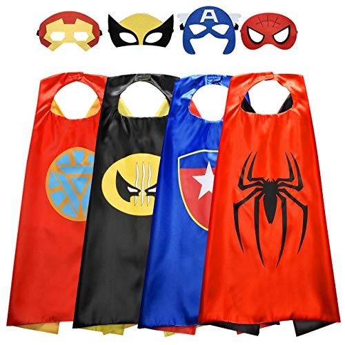 Roko Toys for 3-10 Year Old Boys, Superhero Capes for Kids 3-10 Year Old Boy Gifts Boys Cartoon Dress up Costumes Party Supplies 4 Pack RKUSPF04, Medium (Smart-S3)