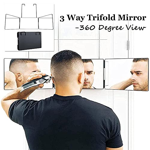 360° 3 Way Mirror,Portable Trifold Barber Mirror with Adjustable Height Brackets,Hanging Mirror for Self Hair Cutting,DIY Haircut Tool (1)