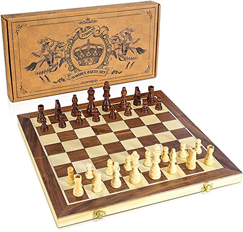 """Atmonas Chess Set, 15"""" Wooden Chess Set with Folding Board & German Knight Staunton Magnetic Chessmen Detailed Guide for Kids and Adults"""