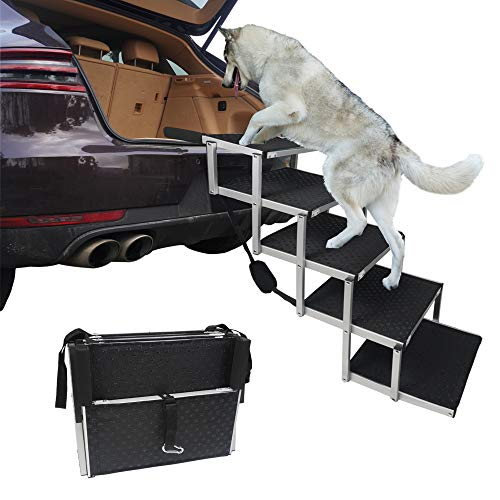 maxpama Folding Dog Car Steps with Portable Aluminum Fram for Large Dog, Foldable Pet Stairs with Nonslip Surface for High Beds, Trucks, Cars and SUV, Lightweight Pet Ladder Ramp Support 150-200 Lbs