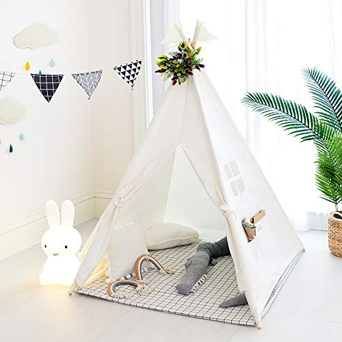 TreeBud Kids Teepee Tent, Classic Indian Play Tent for Child, Foldable Playhouse for Indoor or Outdoor Play, Cotton Canvas Children Tents for Girl and Boy with Carry Bag (White)