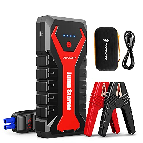 DBPOWER 2000A/20800mAh Portable Car Jump Starter (UP to 8.0L Gas/6.5L Diesel Engines) 12V Auto Lithium-Ion Battery Booster with Smart Clamp Cables, Quick Charge, and LED Flashlight