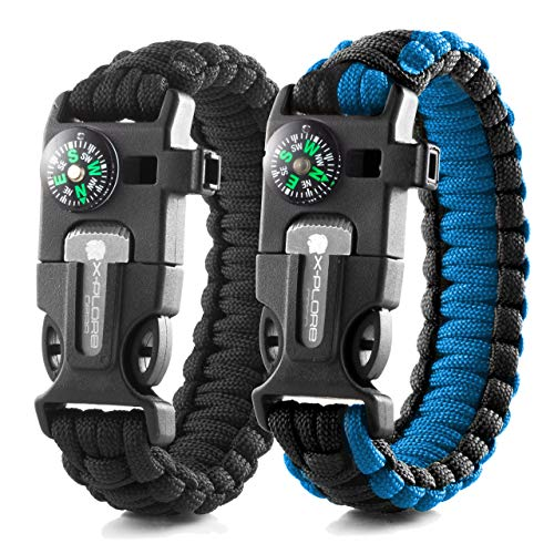 X-Plore Gear Emergency Paracord Bracelets   Set of 2  The Ultimate Tactical Survival Gear  Flint Fire Starter, Whistle, Compass & Scraper   Best Wilderness Survival-Kit - Black(R)/Blue(R)