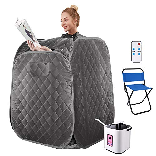 OppsDecor Portable Steam Sauna, 2L Personal Therapeutic Sauna Spa for Weight Loss Detox Relaxation Slimming,One Person Sauna with Remote Control,Foldable Chair,Timer (31.5 x 31.5 x 40.6inch, Grey)