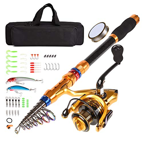 CLORIS Fishing Rod and Reel Combo Saltwater Freshwater-12 FT Carbon Fiber Telescopic Fishing Pole and Reel Combo with Line Lures Tackle Hooks Carrier Bag for Adults Young Kids MenTravel (3.6m / 12ft)