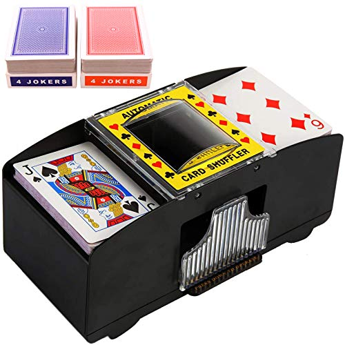 2 Deck Automatic Card Shuffler with 2 Pack Standard Poker Playing Cards,Electric Battery Operated Poker Shuffling Machine for Home Card Games, Poker, Blackjack (Card Shuffler with Playing Cards)