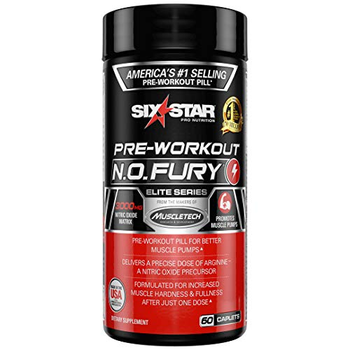 Nitric Oxide Supplement Pre Workout   Six Star Elite N.O. Fury   Pre-Workout Nitric Oxide Booster Muscle Builder   Nitric Oxide Pills for Men and Women   Workout Supplement for Men, 60 Capsules