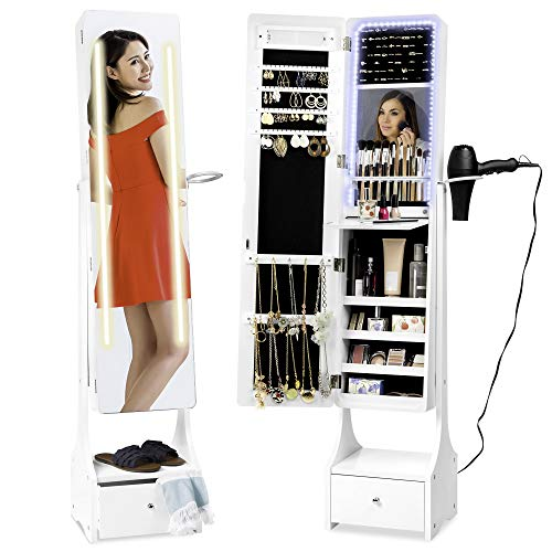 Best Choice Products Full Length Standing LED Mirror, Jewelry & Makeup Storage Cabinet Armoire w/ Interior & Exterior Lights, Lockable Magnet Door, Touchscreen, Velvet Lining, Shelves, Drawer - White