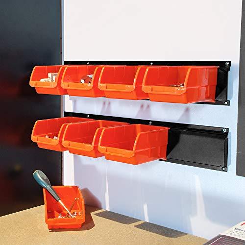 Wallmaster 8-Bin Storage Bins Garage Rack System 2-Tier Orange Tool Organizers Cube Baskets Wall Mount Organizations