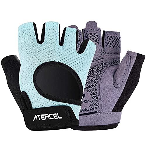 Atercel Weight Lifting Gloves 2021 Upraded Full Palm Protection, Best Workout Gloves for Gym, Cycling, Exercise, Breathable, Super Lightweight for Mens and Women(Aqua, S)