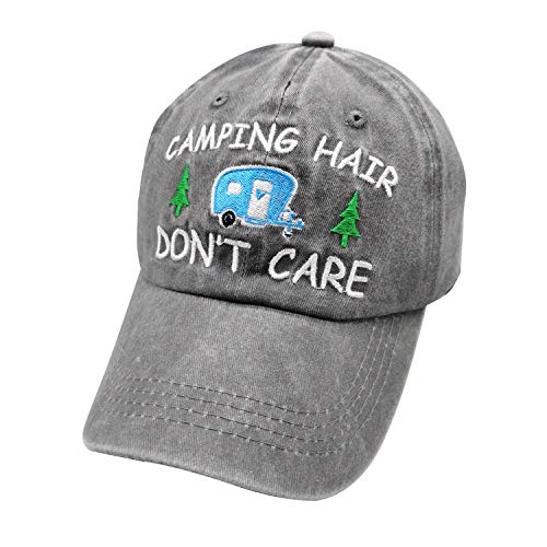 Waldeal Women's Embroidered Adjustable Camping Hair Don't Care Washed Dye Dad Hat Grey