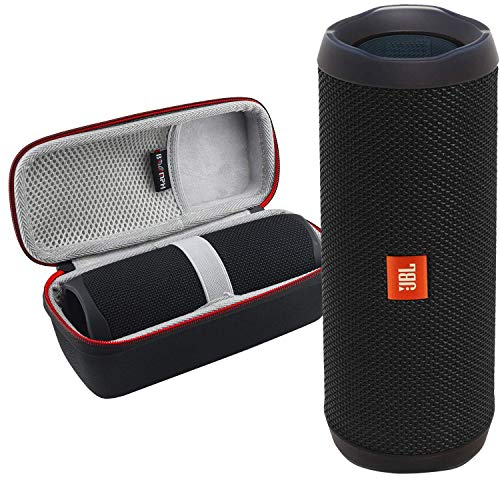 JBL FLIP 5 Portable Wireless Bluetooth Speaker IPX7 Waterproof On-The-Go Bundle with Boomph Hardshell Protective Case - Black