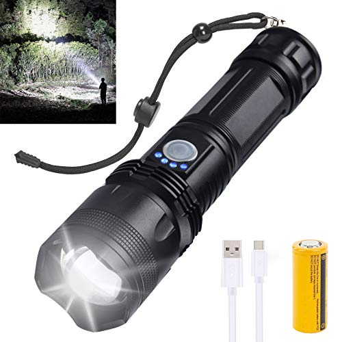 Rechargeable Led Flashlight, 10000 Lumens Super Bright Flashlights High Lumens Powerful Tactical Flashlights with 26650 Batteries Included, Zoomable, 5 Modes, Waterproof Flashlight for Emergencies
