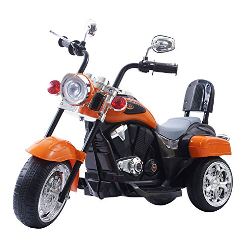 Freddo Chopper Style Electric Ride On Motorcycle for Kids - 6V Battery Powered 3 Wheel Ride On Toy for Boys, Girls, and Toddlers - Orange