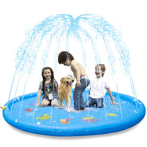 KKONES Sprinkler Pad & Splash Play Mat 3-in-1 68' Toddler Water Toys Fun for 3 4 5 6 Years Old Boy Girl,Kids Outdoor Summer Toy