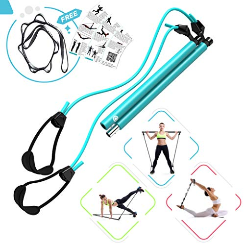 FLEXIES Portable Pilates Bar kit with FREE 8-Loop Stretch Band, Workout Videos & Exercise Manual + Posture Alignment Guide, Meal & Workout Planner (E-Book) Adjustable Resistance & Length Pilates Stick