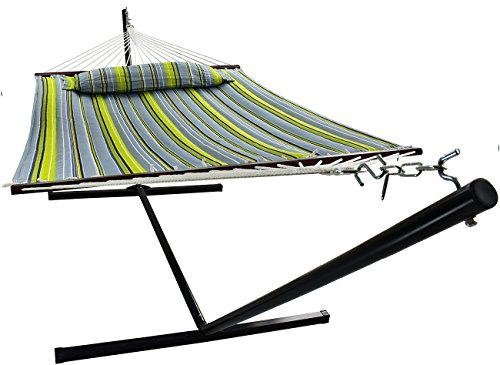 Sorbus Hammock with Stand & Spreader Bars and Detachable Pillow, Heavy Duty, 450 Pound Capacity, Accommodates 2 People, Perfect for Indoor/Outdoor Patio, Deck, Yard (Hammock with Stand, Green/Blue)