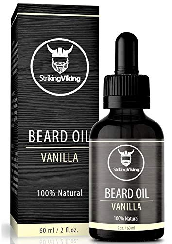 Vanilla Beard Oil (Large 2 oz.) - 100% Natural Beard Conditioner with Organic Tea Tree, Argan, and Jojoba Oil with Vanilla Scent - Softens, Smooths, and Strengthens Beard Growth by Striking Viking