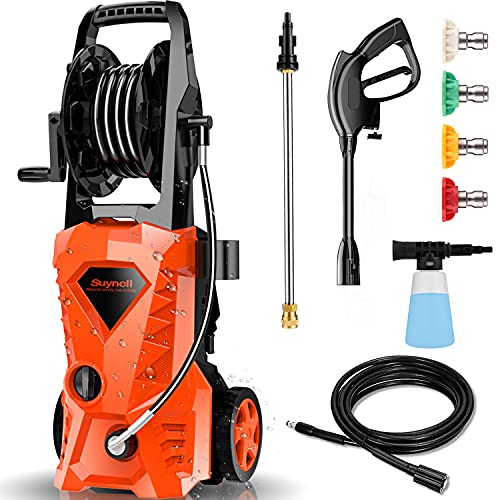 Suyncll 3000PSI Pressure Washer 2.4GPM Electric Power Washer with Hose Reel and Brush,1600W High Pressure Washer for Driveway Fence Patio Deck Cleaning