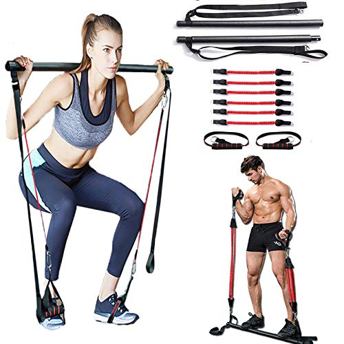 Pilates Bar Kit,60-180 LBS Portable Pilates Bar with Adjustable Resistance Band for Home Gym, Portable Pilates Total Body Workout, Yoga, Fitness, Stretch (180)