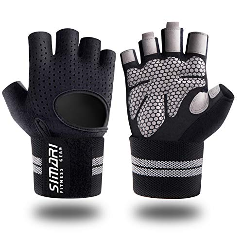 SIMARI Workout Gloves Mens and Women Weight Lifting Gloves with Wrist Support for Gym Training, Full Palm Protection for Fitness, Weightlifting, Exercise, Hanging, Pull ups, Upgraded in 2021