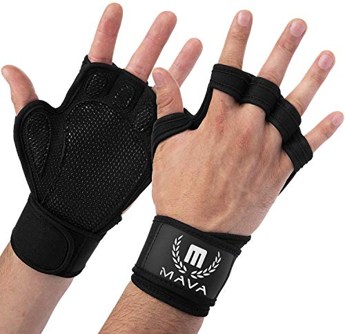Mava Sports Ventilated Workout Gloves with Integrated Wrist Wraps Support and Full Palm Silicone Padding. Perfect for Weight Lifting, Powerlifting, Pull Ups,WOD and Cross Training for Men and Women.