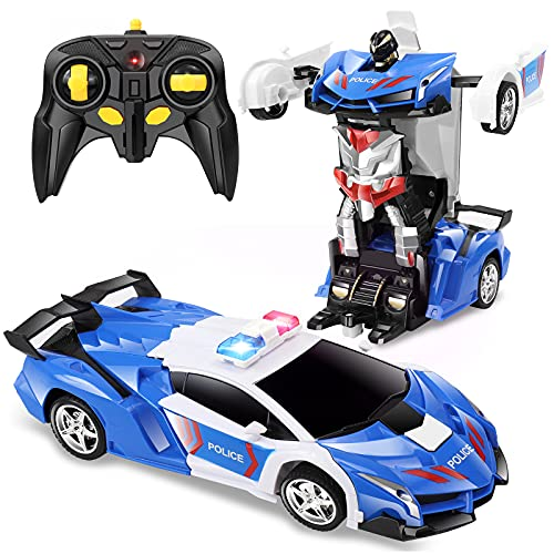 FAFUGANIA Remote Control Car, Transform Robot RC Car with One Button Deformation, 2.4Ghz 360 Degree Rotating Drifting Police Toy Cars, 1:18 Transforming Robot Boys Toys Age 6-8