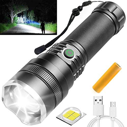 Rechargeable LED Flashlights High Lumens, 10000 Lumens Bright Tactical Flashlights with 21700 Batteries, 4 Modes, Zoomable, Waterproof Handheld Flashlights for Hiking, Camping, Hunting