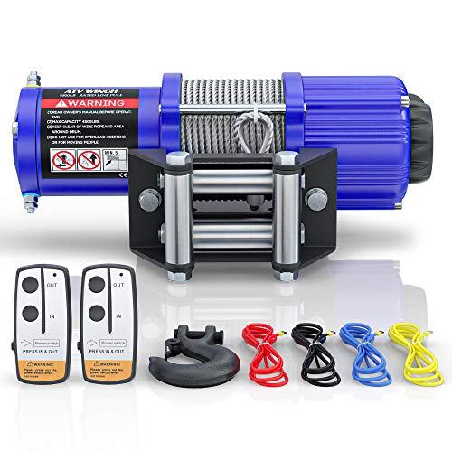 BIGTUR ATV/UTV Electric Winch 12V 4500lbs Towing Steel Cable Winch Off-Road Recovery with Wireless Remote Control/Mounting Bracket (S-Model/Blue)