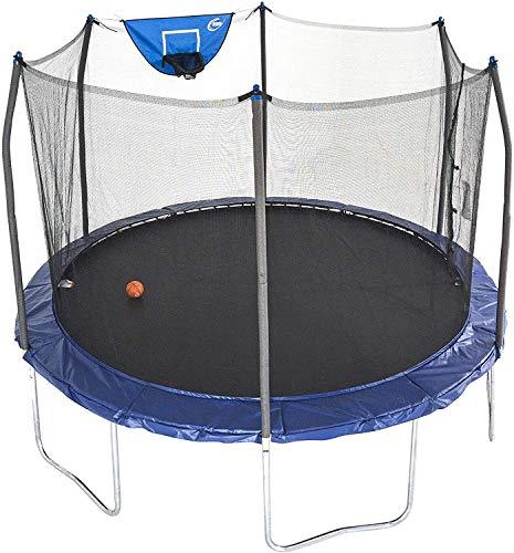 Skywalker Trampolines 12-Foot Jump N' Dunk Trampoline with Enclosure Net - Basketball Trampoline, Blue