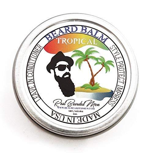 REAL BEARDED MEN 100% Natural Premium Beard Balm 2 oz - Tropical - Made in USA