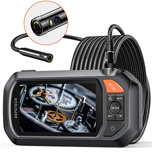Endoscope Dual-Lens, DEPSTECH 4.3' IPS Screen Industrial Borescope with 3000mAh Battery,1080P HD+ Inspection Camera with 7 LED Lights, 32GB Card, Hard Carry Camera Bag, Semi-Rigid Snake Cable (16.5ft)