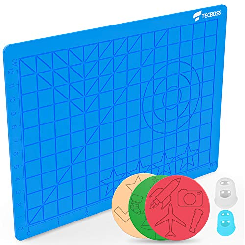 TECBOSS 3D Printing Pens Mat, 3D Pen Pad Silicone Template with Bonus 3 Patterns Mat 2 Finger Protectors - Tools for 3Doodler/MYNT3D Pen