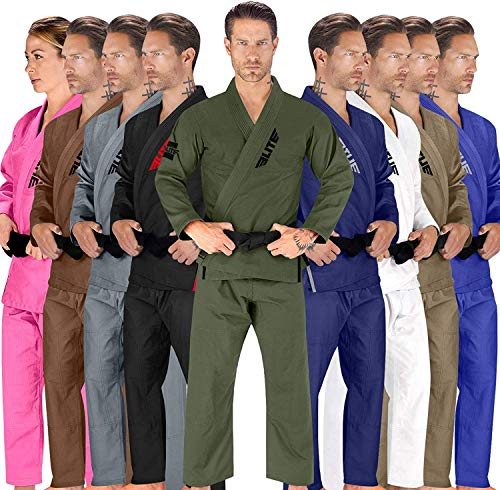 Elite Sports BJJ GI for Men IBJJF Kimono BJJ Jiujitsu GIS W/Preshrunk Fabric & Free Belt (See Special Sizing Guide) (Premium Green, Size 4)