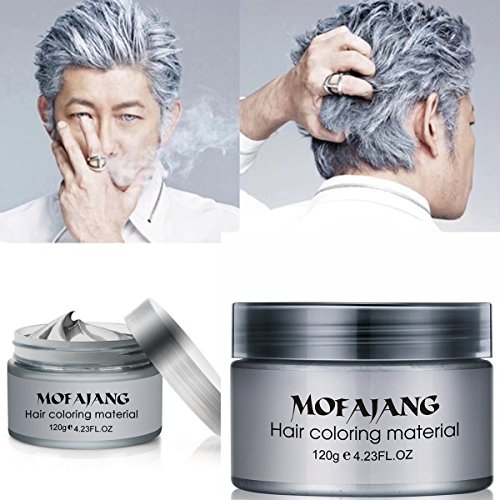 Temporary Silver Gray Hair Wax Pomade for People, Luxury Coloring Mud Grey Hair Dye,Washable Treatment with All Day Hold. Non-Greasy Matte Hairstyle Ash for Party, Cosplay