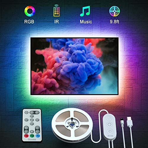 Govee TV Backlights, 9.8FT RGB TV LED Strip Lights with Remote, Music Sync TV LED Backlights with 32 Colors Multi Scene Modes, LED Lights for 46-60 inch TVs Desktop Monitor, USB Powered