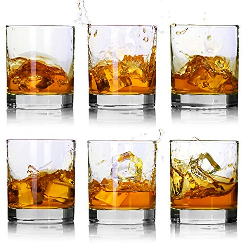 Whiskey Glasses-Premium 11 OZ Scotch Glasses Set of 6 /Old Fashioned Whiskey Glasses/Perfect Idea for Scotch Lovers/Style Glassware for Bourbon/Rum glasses/Bar whiskey glasses,Clear