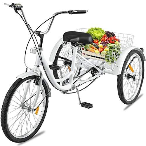 Adult Tricycle 1/7 Speed 3-Wheel with Shopping Basket for Seniors, Women, Men. Three Wheel Cruiser Bike, Multiple Speeds, 24-Inch Wheels, Cargo Basket