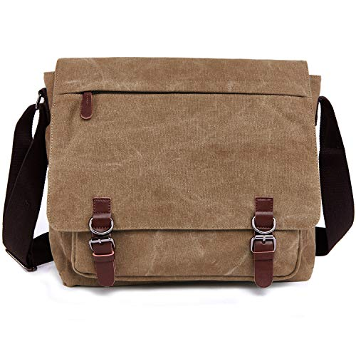 Canvas Messenger Bag for Men Women,Travel Satchel Shoulder bag 15.6 Inch Laptop Bags Business (Coffee)