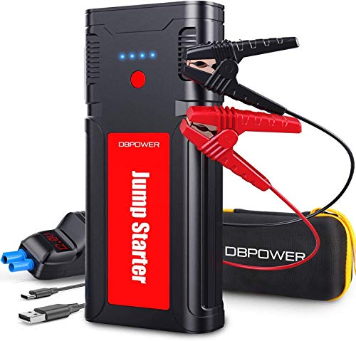 DBPOWER 2500A/21800mAh Portable Car Jump Starter- UP to 8.0L Gasoline/6.5L Diesel Engines, 12V Auto Lithium-Ion Battery Booster, Power Pack With LCD Screen Clamp Cables, LED Flashlight