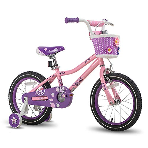 JOYSTAR 16 Inch Girls Bike with Training Wheels for 4 5 6 7 Years Old Kids, Birthday Gift Children Bicycle with Training Wheels and Hand Brake, Pink