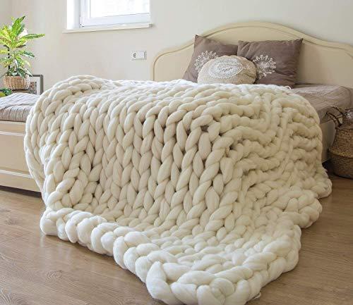 Chunky Knit Blanket Merino Wool Hand Made Throw Boho Bedroom Home Decor Giant Yarn,Milk White,47'x71'