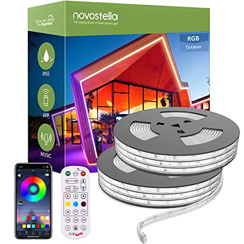 Novostella Smart Outdoor Rope Light, 105ft (52.5x2) Music Sync RGB LED Strip Lights, App Control and RF Remote Color Changing Dimmable Tape Exterior Lighting Kit, for Garden Decorative Party, 24V IP65