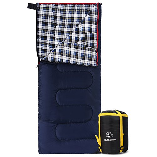 REDCAMP Cotton Flannel Sleeping Bag for Camping, 41F/5C Cold Weather Warm and Comfortable, Envelope Blue 4lbs(75'x33')
